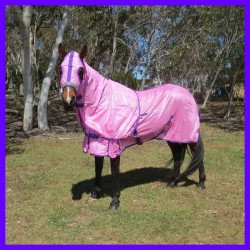 Soft Mesh Horse Rug and Hood Set - Pink