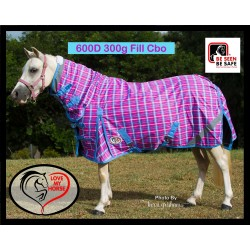 600D 300g Fill MINI Winter Combo Horse Rug Pink Check