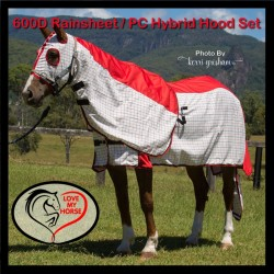 600 Denier Rainsheet / Poly Cotton Hybrid Hood Set Red