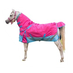 1200 Denier Rainsheet Detachable Neck Horse Rug Pink / Blue