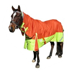 5'0, 6'9 1200D Fleece Lined Rainsheet Combo Horse Rug Orange / Lime